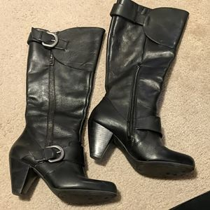 Arturo Chiang black leather tall boots, Size 8